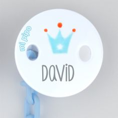 Broche Pinza Deco Corona Azul con cadenita azul Personalizado