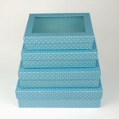 Cajitas de regalo con ventana topitos azul 4u