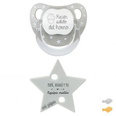 Blue Duo Baby Glitter funny Pacifier and Clip chain Pack
