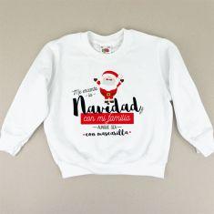 Camiseta o Sudadera Niño/a Me encanta la Navidad con mi familia aunque sea con mascarilla