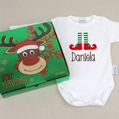 Babidu Body Navideño Personalizado Navidad Elfo con cajita de regalo