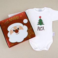 Babidu Body Navideño Personalizado Navidad Árbol con cajita de regalo