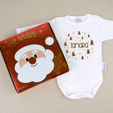 Babidu Body Navideño Personalizado Navidad Árboles marrones con cajita de regalo