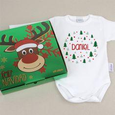Babidu Body Navideño Personalizado Navidad Árboles verdes con cajita de regalo