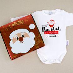 Babidu Body Navideño Me encanta la Navidad con mi familia aunque sea con mascarilla con cajita de regalo