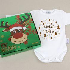 Babidu Body Navideño Navidad es Familia con cajita de regalo