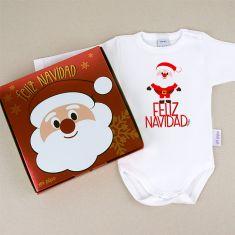 Babidu Body Navideño Feliz Navidad Papa Noel cuerpo entero con cajita de regalo