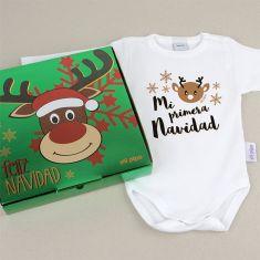 Babidu Body Navideño Mi Primera Navidad Renito con cajita de regalo