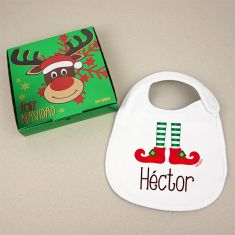 Babero Navideño Personalizado Navidad Elfo con cajita de regalo