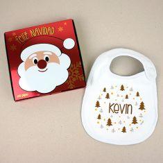 Babero Navideño Personalizado Navidad Árboles marrones con cajita de regalo