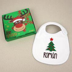 Babero Navideño Personalizado Navidad Árbol con cajita de regalo