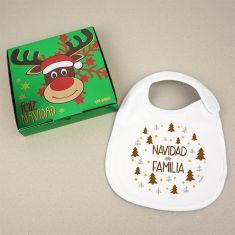 Babero Navideño Navidad es Familia con cajita de regalo