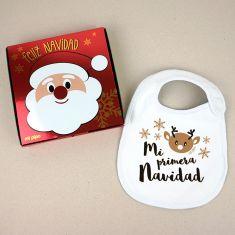 Babero Navideño Mi Primera Navidad Renito con cajita de regalo