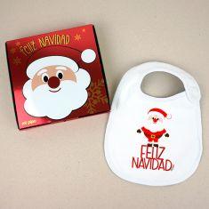 Babero Navideño Feliz Navidad Papá Noel cuerpo entero con cajita de regalo