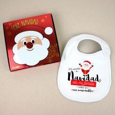 Babero Navideño Me encanta la Navidad con mi familia aunque sea con mascarilla con cajita de regalo