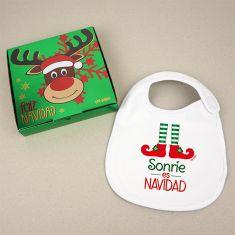 Babero Navideño Sonríe es Navidad con cajita de regalo