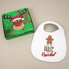 Babero Navideño Soy lo más dulce de la Navidad con cajita de regalo