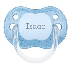 PTL Blue Glitter transparent personalized New Classic pacifier