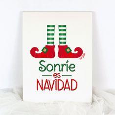 Lienzo Navidad Sonríe es Navidad