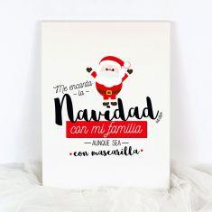 Lienzo Navidad Me encanta la Navidad con mi familia aunque sea con mascarilla