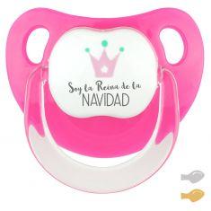 Chupete Baby Deco Corona rosa Soy la Reina de la Navidad