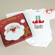 Cajita Navidad Body + Chupete Elfo Personalizada