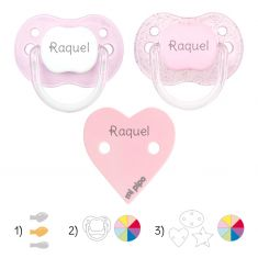 Pack with 2 Baby Pacifiers + Personalized Clip White