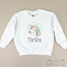 Camiseta o Sudadera Bebé y Niño/a Personalizada Unicornio