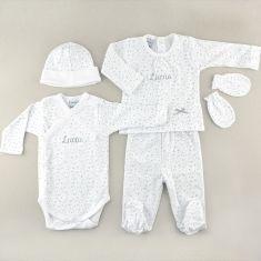 Babidu My First Cloth Personalized Little Stars Gray 0M