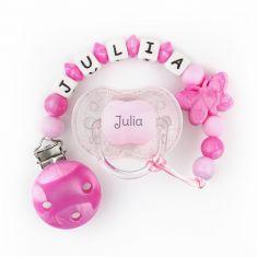Chupete New Classic Purpurina rosa + Cadenita de silicona Mariposa rosa nácar personalizados