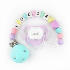 Chupete Baby Malva + Cadenita de silicona Turquesa multicolor personalizados