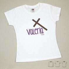 Camiseta o Sudadera Bebé y Niño/a Nombre + Cruz