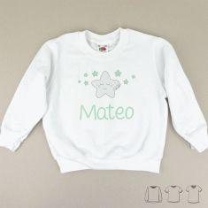 Camiseta o Sudadera Bebé y Niño/a Personalizada Estrella Sonrisa