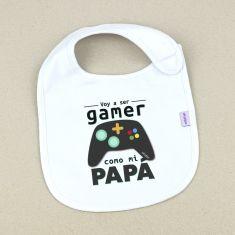 Babero Divertido Voy a ser gamer como mi Papá
