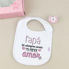 Cajita Babero + Chupete Papá, tú siempre serás mi primer Amor