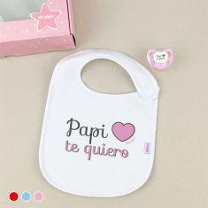 Cajita Babero + Chupete Papi te quiero