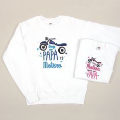 Pack 2 Prendas Camiseta o Sudadera Soy un Papá Motero/Soy Motera como mi Papá Azul y Rosa