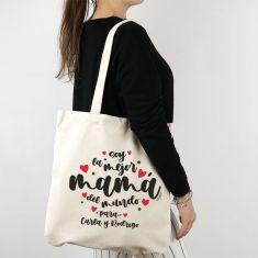 Bolso algodón orgánico personalizado Soy la mejor Mamá del mundo para (nombres)