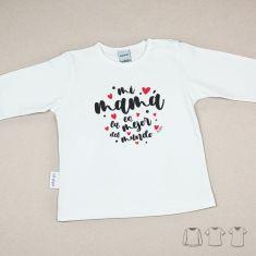 Camiseta o Sudadera Bebé y Niño/a Mi Mamá es la mejor del mundo Corazones lunares