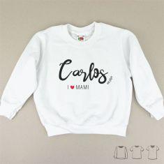 Camiseta o Sudadera Bebé y Niño/a (Nombre) I love Mami pincelada