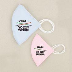 Pack 2 Mascarillas Higiénicas reutilizables Personalizadas (Nombre) Yo soy tu Padre / Papi yo soy tu hijo