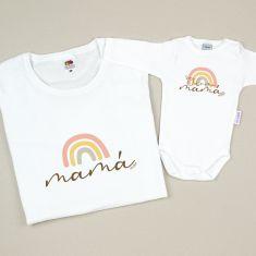Pack 2 Prendas Personalizadas Mamá Arcoiris soft