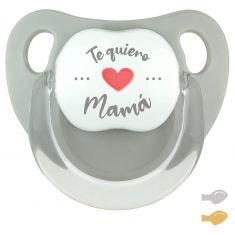 Chupete Baby Deco Gris Te quiero Mamá caligrafía