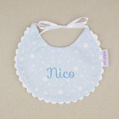 Bib Piqué Birth Blue Personalized