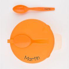 Plato con tapa y cuchara Naranja