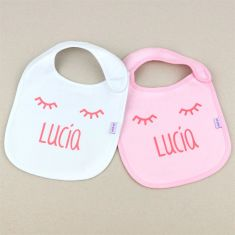 2 Bibs Personalized White-Pink +3M