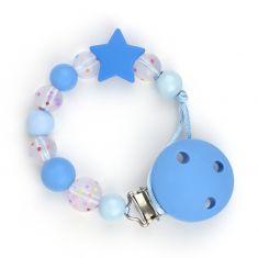 Cadenita Silicona Confeti Azul personalizada en el clip