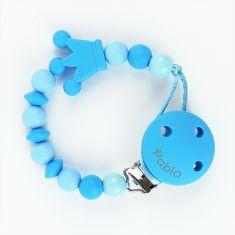 Cadenita Silicona Corona Tonos Azul personalizada en el clip