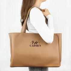 Bolso Shopper polipiel (color a elegir) Profe/Seño + Nombre