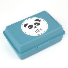 Cajita Porta Alimentos Panda Azul personalizada